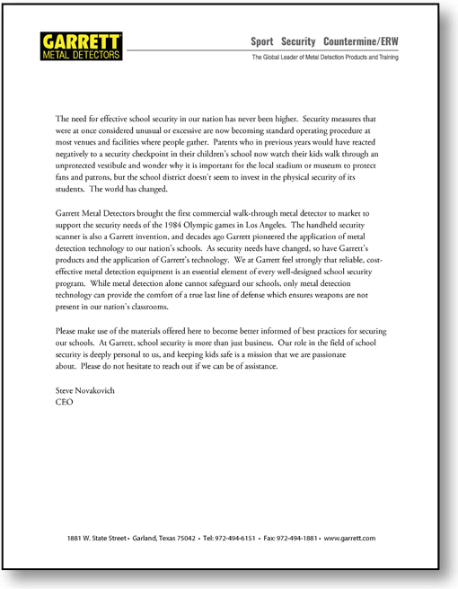 CEO's Message A letter from Garrett CEO Steve Novakovich to Texas educators. PDF